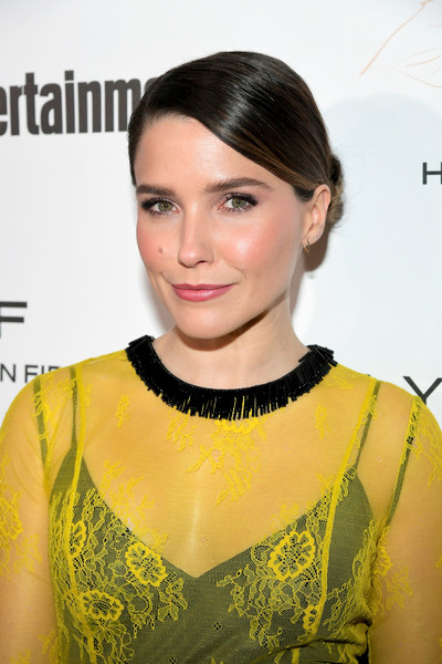 Sophia Bush Classic Bun [hair,hairstyle,yellow,eyebrow,beauty,fashion,lip,fashion model,black hair,neck,nominees,arrivals,sophia bush,entertainment weekly celebrates screen actors guild award,chateau marmont,new york,california,maybelline,entertainment weekly,nominees celebration]