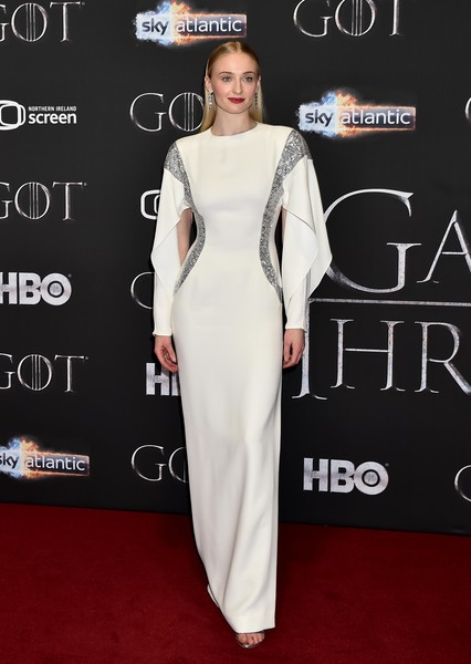 Sophie Turner Evening Dress [game of thrones,season,clothing,white,red carpet,dress,carpet,shoulder,premiere,fashion model,fashion,flooring,red carpet arrivals,gown,sophie turner,red carpet,shoulder,runway,clothing,screening,celebrity,red carpet,supermodel,shoulder,haute couture,socialite,gown,runway,hbo]