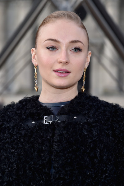 Sophie Turner Ponytail [hair,face,lip,eyebrow,fashion,hairstyle,beauty,blond,haute couture,eye,sophie turner,front row,part,paris,france,louis vuitton,paris fashion week womenswear fall]