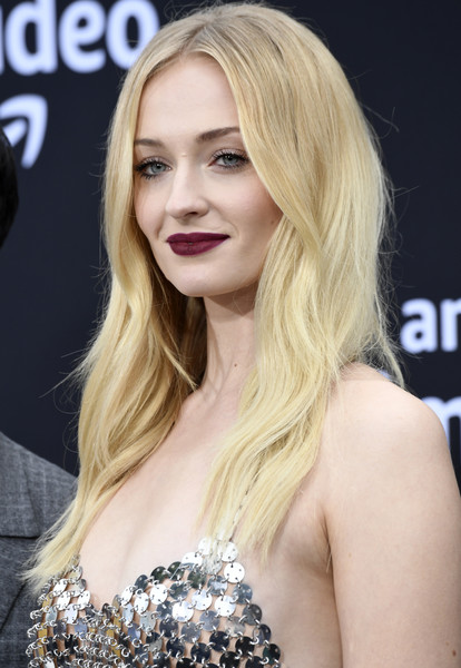 Sophie Turner Dark Lipstick [hair,blond,face,hairstyle,long hair,lip,eyebrow,beauty,chin,layered hair,arrivals,sophie turner,california,los angeles,regency bruin theatre,amazon prime video,chasing happiness,premiere of amazon prime video,premiere]