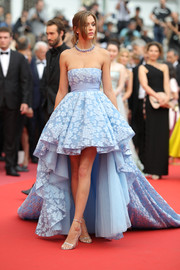Josephine Skriver looked enchanting in a strapless, high-low blue gown by Giambattista Valli Couture at the Cannes Film Festival screening of 'Sorry Angel.'