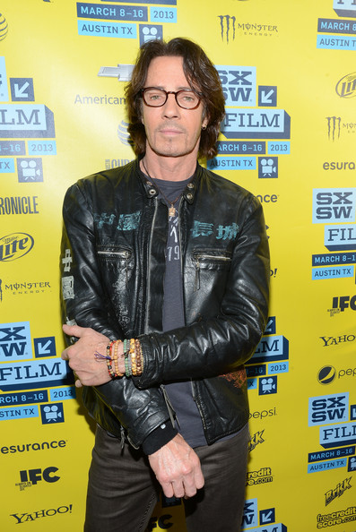 Rick Springfield stayed true to his rocker style with this leather jacket.