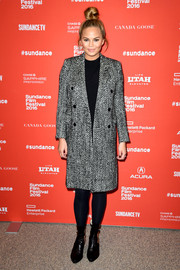 Chrissy Teigen attended the Sundance Film Fest premiere of 'Southside with You' wearing a chevron tweed coat by Saint Laurent.