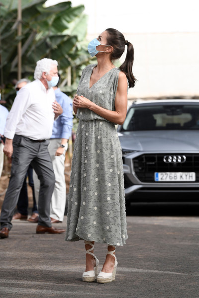 Queen Letizia of Spain visited the El Confital farm wearing a slouchy embroidered dress by Zara.