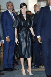 Queen Letizia of Spain rocked a black leather kimono dress by & Other Stories at the ARCO Art Fair 2019.