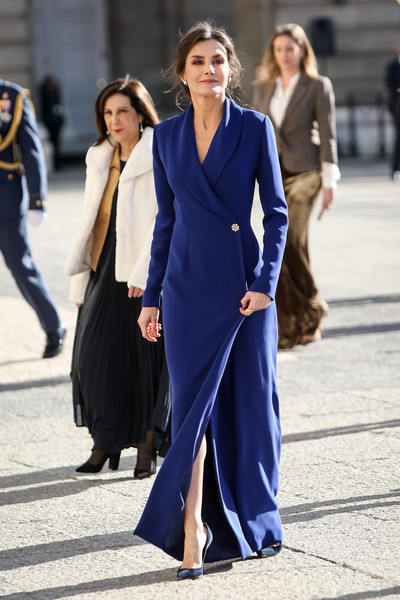 Queen Letizia of Spain looked perfectly refined in a blue tuxedo gown at the New Year Military Parade.
