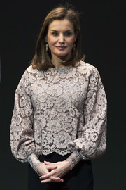 Queen Letizia of Spain looked demure and elegant in a gray lace blouse by Zara at the Innovation and Design Awards.
