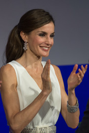 Queen Letizia of Spain attended the Princesa de Girona Foundation Awards wearing some chunky diamond bracelets.