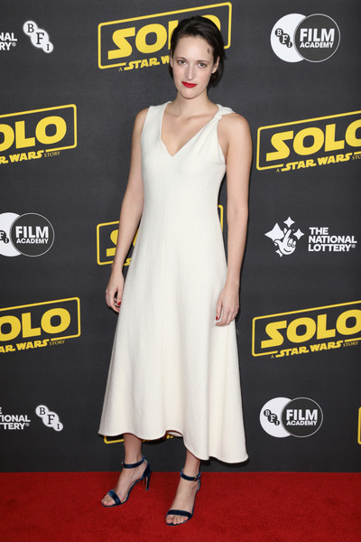 Phoebe Waller-Bridge kept it minimal in a sleeveless white midi dress at the special BFI screening of 'Solo: A Star Wars Story.'