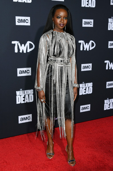 Danai Gurira complemented her dress with silver evening sandals.
