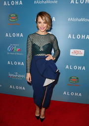 Rachel McAdams juggled sexiness and sweetness in this Self-Portrait dress, featuring a mesh bodice and a ruffle skirt, at the special screening of 'Aloha.'