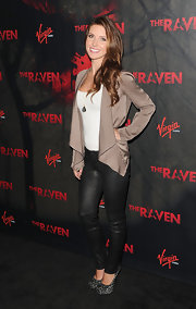 Audrina Patridge mixed brown and black with this drapy silk topper and leather leggings.