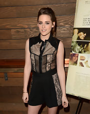 Kristen wore this edgy leather-clad lace button-down with matching high-waist shorts at the LA screening of 'On the Road.'