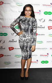 Dionne Bromfield looked professionally chic in a black-and-white print dress at the Specsavers' Spectacle Wearer of the Year event.