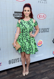 Jillian Rose Reed looked ultra modern in a Nasty Gal print dress with shoulder and waist cutouts during Spike TV's Guys Choice 2014.
