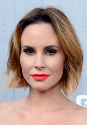 That bright red lipstick totally lightened up Keltie Knight's beauty look.