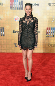 Olivia Munn brought plenty of allure to Spike TV's Guys Choice 2016 with this Galia Lahav embroidered, sheer-overlay LBD.
