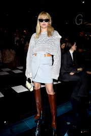 Eleonora Carisi paired her top with a pale blue mini skirt.