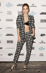 Barbara Palvin was a head turner at the Sports Illustrated VIP boat cruise in a floral pantsuit teamed with a black bra.