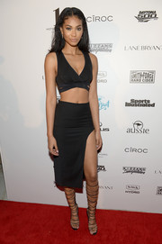 Chanel Iman chose a black bra top (which has become her signature of late) for the Sports Illustrated Swim BBQ.