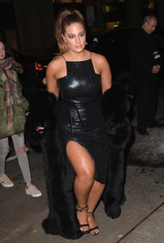 Ashley Graham caught plenty of admiring stares in her black fur coat and LBD combo as she headed to the Sports Illustrated Swimsuit 2017 launch.