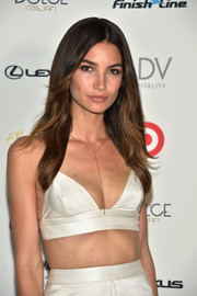 Lily Aldridge looked breathtakingly beautiful even with this simple center-parted 'do at the Sports Illustrated Swimsuit South Beach Soiree.