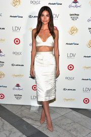 Lily Aldridge was sexy yet elegant in her white Jenni Kayne pencil skirt and crop-top combo.