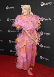 Rita Ora stole the spotlight in a feather-festooned top by Marc Jacobs at the Spotify Best New Artist 2019 event.