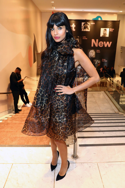 Jameela Jamil dolled up in a leopard-print cocktail dress by Christian Siriano for the Spotify Best New Artist 2019 event.