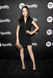 Sofia Carson looked sharp in a black tux dress with an asymmetrical hem at the Spotify Best New Artist nominees celebration.
