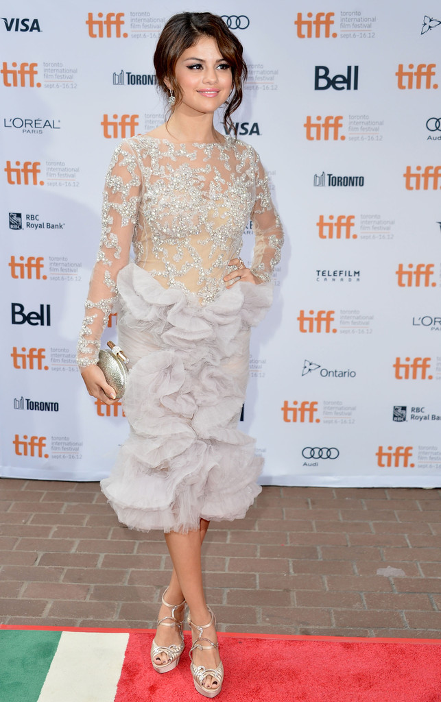 "Actress Selena Gomez attends the""Spring Breakers"" premiere during the 2012 Toronto International Film Festival at Ryerson Theatre on September 7, 2012 in Toronto, Canada."