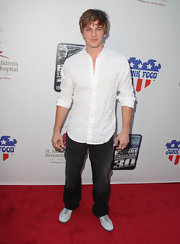 "Matt Lanter donned a white button down with tonal stripes to the screening of ""The Empire Strikes Back."""