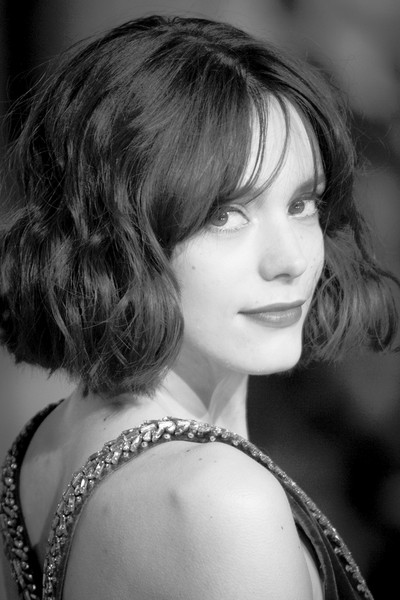 Stacy Martin Short Wavy Cut [portraits,image,hair,face,hairstyle,photograph,eyebrow,beauty,monochrome,black-and-white,chin,lady,stacy martin,ee,england,london,the royal opera house,british academy film awards]
