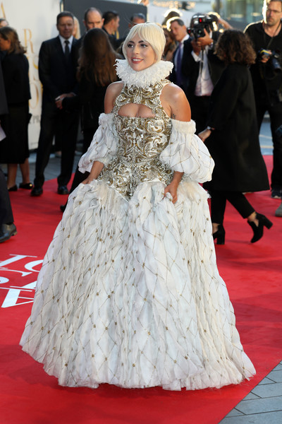 Lady Gaga channeled her inner queen in an ornate Elizabethan-inspired gown by Alexander McQueen at the UK premiere of 'A Star is Born.'