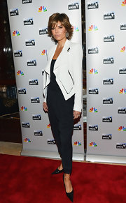 Lisa Rinna rocked a crisp white leather jacket with zipper detailing for her red carpet look at the 'All Star Celebrity Apprentice' event in NYC.