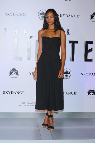 Black ankle-cuff sandals by Gianvito Rossi rounded out Zoe Saldana's ensemble.