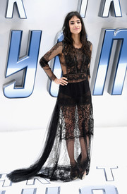 Sofia Boutella showed plenty of skin in a sheer black lace gown by Alberta Ferretti at the UK premiere of 'Star Trek Beyond.'