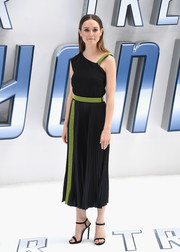 Lydia Wilson went the modern route in an asymmetrical black dress with neon-yellow accents during the UK premiere of 'Star Trek Beyond.'