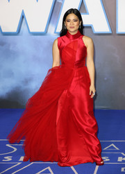 Kelly Marie Tran looked striking in a high-neck red gown by Phuong My at the European premiere of 'Star Wars: The Rise of Skywalker.'