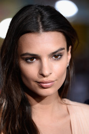 Emily Ratajkowski played down her pout with nude lipstick for the premiere of 'We Are Your Friends.'