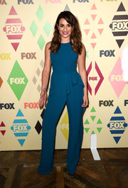 Lea Michele chose a ruffle-accented blue jumpsuit by Elie Saab for her Fox All-Star Party look.