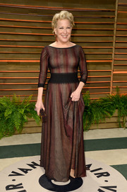 Bette Midler donned a multicolored fit-and-flare gown for the Vanity Fair Oscar party.
