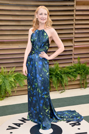 Patricia Clarkson donned a cosmic-print halter gown with a long train for the Vanity Fair Oscar party.