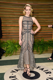 Jena Malone went for modern elegance in a multi-textured gray evening dress by J. Mendel during the Vanity Fair Oscar party.
