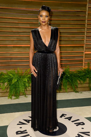 Gabrielle Union looked breathtaking at the Vanity Fair Oscar party in a black Nicholas Oakwell gown with a deep-V neckline.