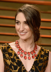 Sara Bareilles wore her hair in a romantic loose chignon during the Vanity Fair Oscar party.