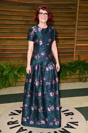 Megan Mullally went for a demure vibe in a floral fit-and-flare gown during the Vanity Fair Oscar party.
