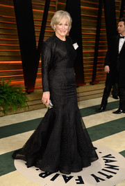 Glenn Close donned a more subdued version of the mermaid gown for the Vanity Fair Oscar party.