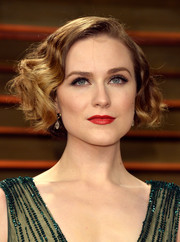 Evan Rachel Wood styled her hair in a vintage-glam 'do for the Vanity Fair Oscar party.
