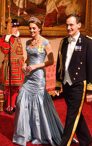 Kate Middleton looked every inch the princess in this ice-blue mermaid gown by Alexander McQueen while attending a State Banquet at Buckingham Palace.